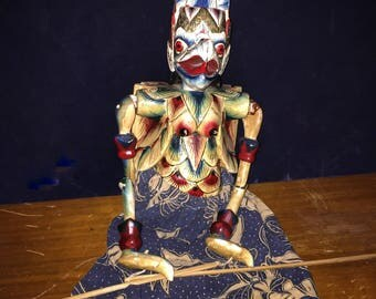 Vintage Indonesian Wayang Golek Wood Rod Puppet