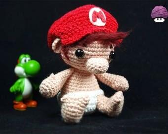 PRE ORDER / custom made baby Mario amigurumi (hand-knitted crochet)