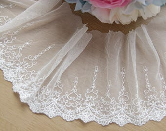 White Heart Floral Lace Trim Embroidery Lace Trim 4.72 Inch Wide 2 Yards L0465