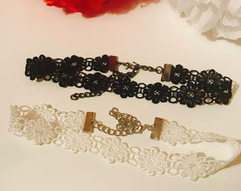 2 pack delicate flower chokers in lace material