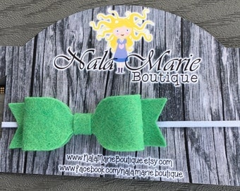 Green Felt Bow Headband