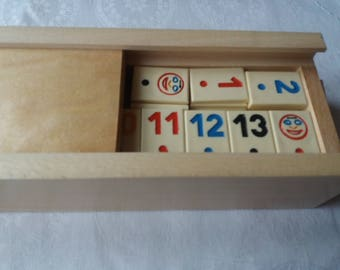 New big rummy,rummikub game with beige piece,children's,travel ,strategy,family game,board game in handmade beech wood box