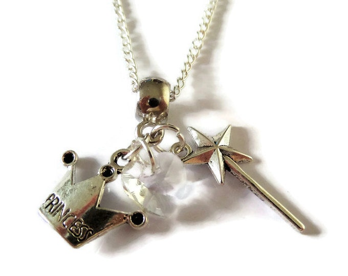 """Princess Cinderella inspired Silver tone 20"""" charm necklace fan gift jewellery party bag favours princess crown wand gift uk"""