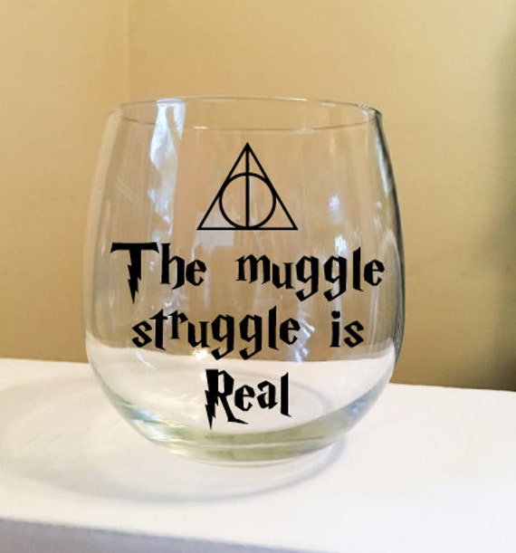 The Muggle Struggle Is Real Stemless Wine Glass