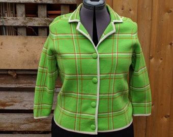 Vintage 1960's Green with Red and White Cropped Jacket / Cardigan / Sweater