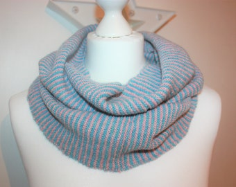 NESS Hand Knitted Infinity Loop Scarf in Luxury Scottish Lambswool Wool in Fairy Pale Pink and Duck Egg Blue Knitwear Knit KN033