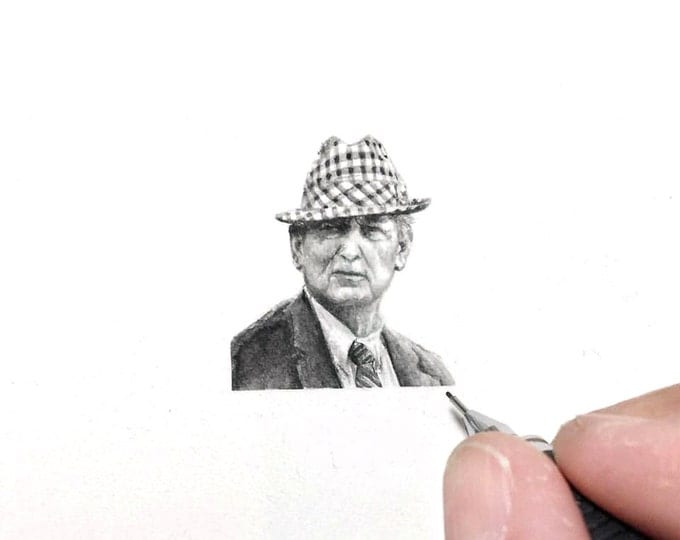 "Print of miniature painting of The Bear.  1 1/4"" x 1 1/4"" print of original Bear Bryant painting on 5"" square german etching paper"