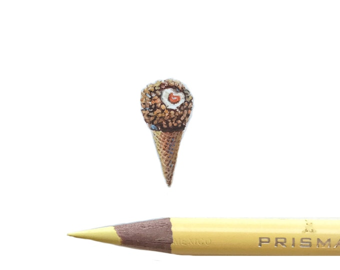 Original Miniature painting of a Drumstick Ice cream Cone. Tiny painting, Drumstick tiny art 5 x 5