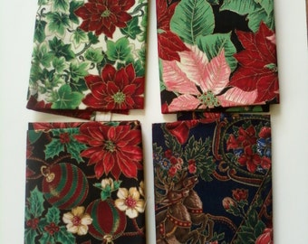 "Christmas Fabric, Poinsettia, Reindeer, Santa four fat quarters, 18X22"""