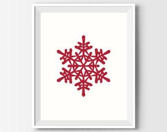 Christmas Print, Red Christmas Decor, Snowflake Winter Printable Art, Christmas Gift, Christmas Printables, Winter Printable Art, Minimalist
