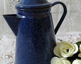 Vintage Blue and White Speckled Enamelware Tea Kettle/ Coffee Pot/ Water Pitcher