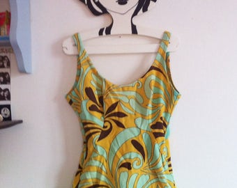 60s mod psychedelic light blue & yellow print one piece swimsuit / medium
