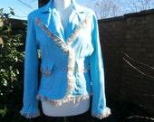 Upcycled Jacket Summer Sky UK size 10  12  US size 6  8  Italian Powder Pale Turquoise Blue Cotton Chiffon Ruffle Blazer Wedding Coat