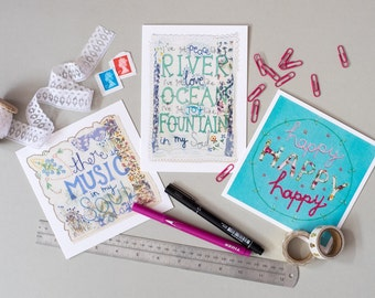 Pack of 3 Greetings Cards, Scripture Cards, Encouragement Cards, Blank Card