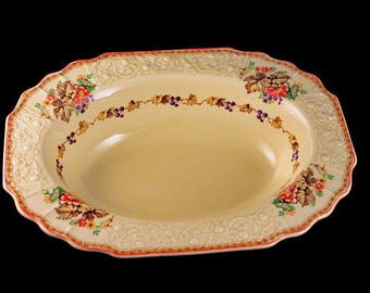Oval Vegetable Bowl, Myott Staffordshire, Embossed, Grapes, Flowers, and Leaves, Cream Colored, Hard to Find, Made In England