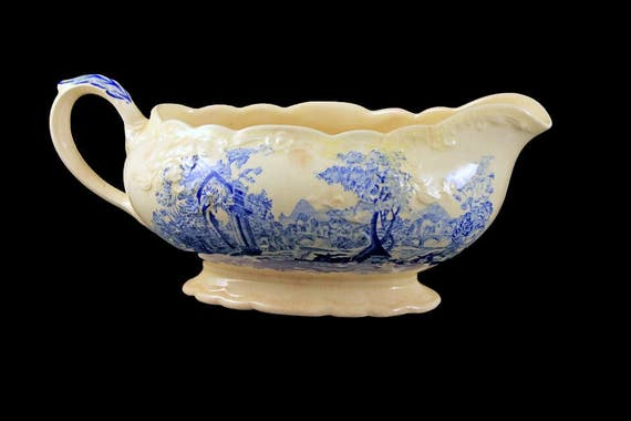 Gravy Boat, Taylor Smith & Taylor, English Abbey, Fairway, Embossed, Blue and Cream Colored, Fine China