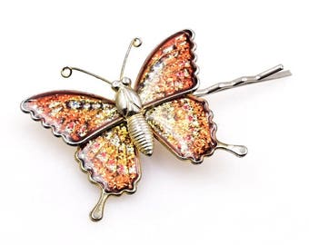 Orange butterfly bobby pin, hair pin, hair clip, kirby grip, upcycled vintage glitter butterfly brooch pin