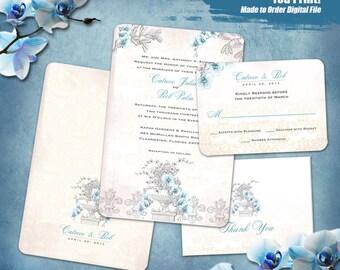 Orchid Fleur de Lis Wedding Invitation Set Digital, Printable Invitation Suite,  Pale Blue Orchid Invitation Printable, Fleur de Lis Invites