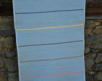 Striped  blue cotton rug, striped blue rug, cotton tricot rug, blue handwoven rug, blue handwoven cotton rug