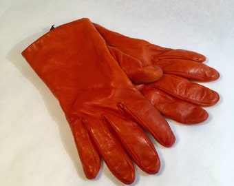 Red Leather Fleece Lined Gloves Rust Colored Gloves Wilsons Leather Driving Gloves, Size Medium
