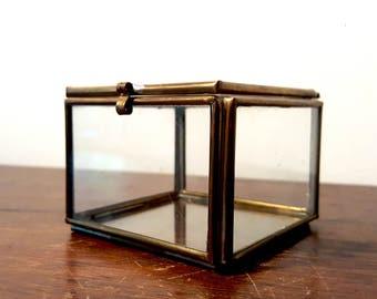 Vintage Glass Display Trinket Box Modern Square Brass Jewelry Dish Dresser Vanity Accessory