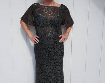 Beautiful vintage 1930 lace dress larger size FREE SHIPPING from RCMooreVintage