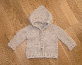 Treth Baby Hoodie PDF Knitting Pattern in Aran Weight Yarn Seamless Top Down