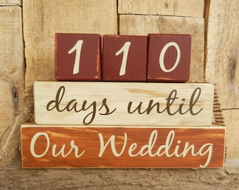 Countdown  blocks, days until (weeks until)  Our Wedding, Mr. and Mrs., I Do, We Do, Wedding countdown, Anniversary countdown