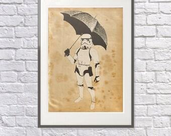 Stormtrooper Print - Star Wars Art - Banksy Style: StormTrooper parody - Star Wars Gift - Star Wars Poster - Banksy Print