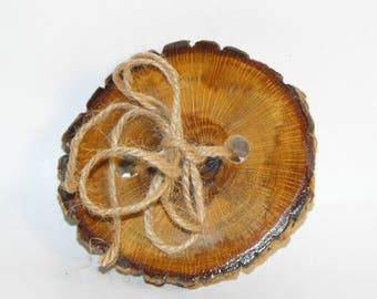 Wedding ring pillow dual pen holder ~ Beautiful Oak tree slice ring holder ~ Rustic Tree Ring Bearer Pillow ~  Wood Slice Ring - pen holder
