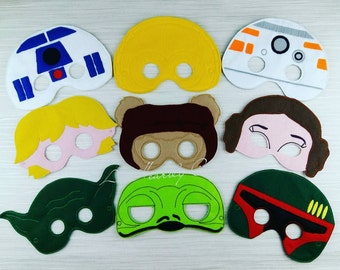 Galaxy Wars Mask - Star Wars Mask - Crete your own - Party Mask Set - Darth Mask - Vader Mask - R2D2 Mask - C3PO Mask - Storm Trooper Mask