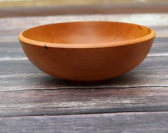 Vermont Cherry Wood, Salad Bowl, Hand Turned Wooden Bowl, Medium Size Wood Bowl, Food Safe, Serving Bowl, Table Centerpiece, Handcrafted