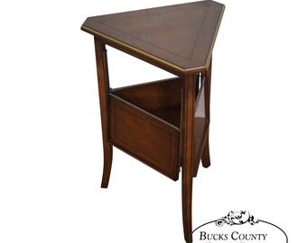 custom quality regency directoire triangle side table w expandable shelf