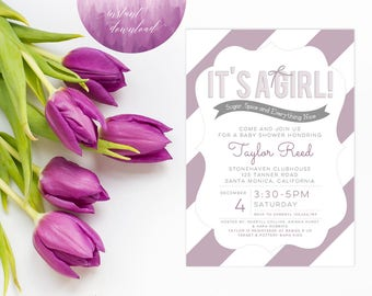 Printable Instant Download Baby Shower Invitation   Girl Baby Shower Invitation   Baby Shower Invite   Purple Baby Shower Invitation