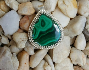 Malachite Pendant. Set in  Sterling Silver.  Beautiful stone.