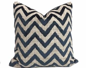 "Designer Navy Blue Velvet Ikat Chevron Decorative Throw Pillow Cover, Fits 12x18 12x24 14x20 16x26 16"" 18"" 20"" 22"" 24"" 26"""