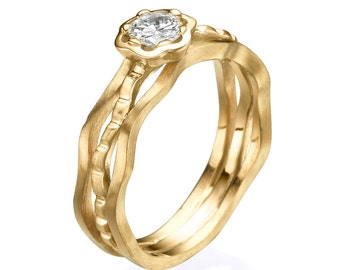 Diamond ring, Floral Ring, Flower Ring, Unique Engagement Ring, Yellow gold ring, Unique gold ring,  Engagement Ring