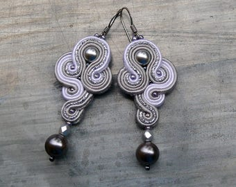 Little Silver Pearls. Hand embroidery soutache earrings with Swarovski pearls, seashell and glass beads