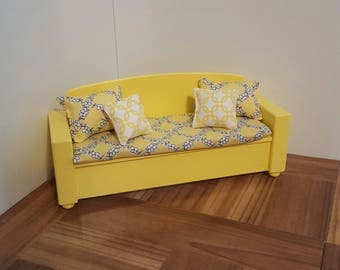 Yellow 1:6 scale Sofa/ playscale sofa/ doll sofa/ doll couch / 1/6 scale couch/ barbie size sofa/ barbie size couch/ BJD doll furniture