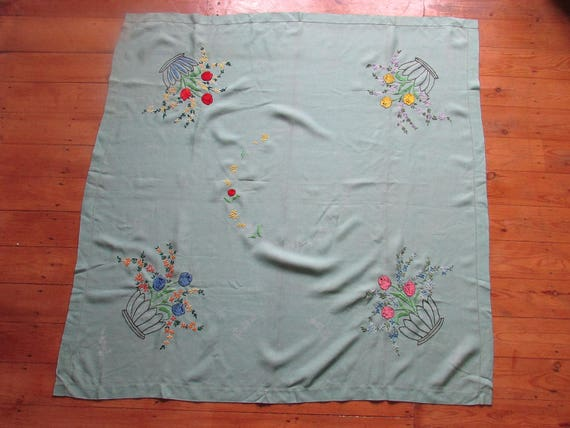 Beautiful vintage unfinished embroidered tablecloth a