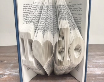 Wedding Decor Book, Literary Wedding Decor, Wedding Folded Book Art, Gift for Her, Wedding Present, Paper Anniversary, Book Lover Gift