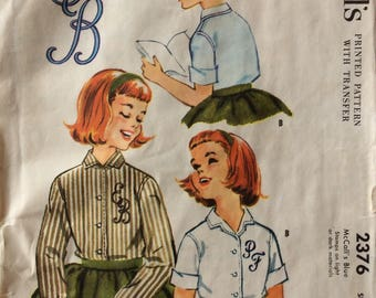 McCall's 2376 girls blouse size 6 or size 10 vintage 1950's sewing pattern