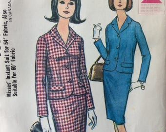 McCall's 7898 vintage 1960's misses suit jacket & skirt sewing pattern size 14 bust 34  Uncut  Factory folds