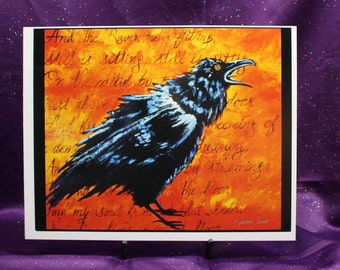 Edgar Allen Poe Raven Poem,  Abstract Raven Print with Words of Poem In Art, Art Print Raven, Gifts for him, Gifts for her, Red Orange raven