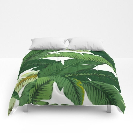 Banana Leaves Duvet Cover Palm Leaves Comforter Dorm Bedding