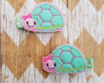 Turtle hair clips, turtle hair clippies, turtle hair bows, girls hair clips, clippies, clippie set, toddler hair clips, felt hair clips