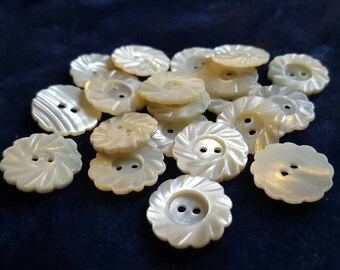Abalone shell Buttons - Mother of Pearl Buttons - Vintage Buttons - Pack of ten- Free Post Within the UK
