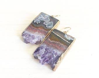 Amethyst Slice Earrings // Amethyst Earrings // Bridal Earrings // Boho Earrings // Gold Earrings
