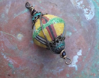 Aged raw brass rustic large African Trade Bead layered wire wrapped connector
