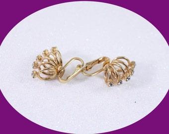 Vintage Rhinestone Earrings Vintage Jewelry Vintage Earring Clip on Earrings Costume Jewelry